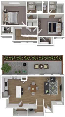 2 Bed 2.5 Bath 1223 square feet 3d furnished floor plan 2 Story