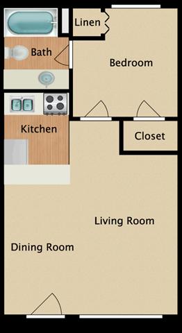 1 Bed 1 Bath 510 square feet floor plan