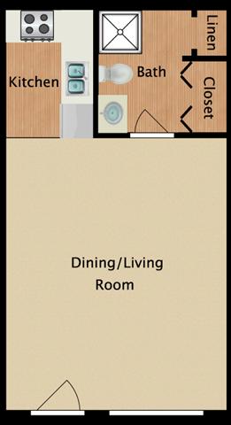 Studio 380 square feet floor plan