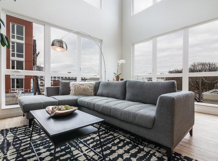 Goat Blocks Apartments Model Living Room and Windows