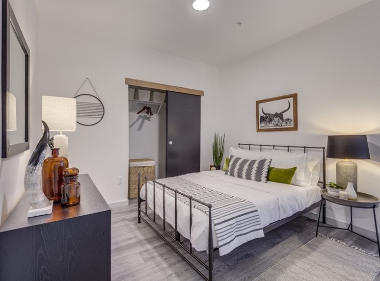 Goat Blocks Apartments Model Bedroom and Closet Door