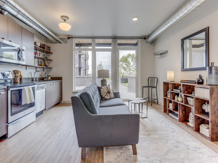 Goat Blocks Apartments Model Living Room and Kitchen