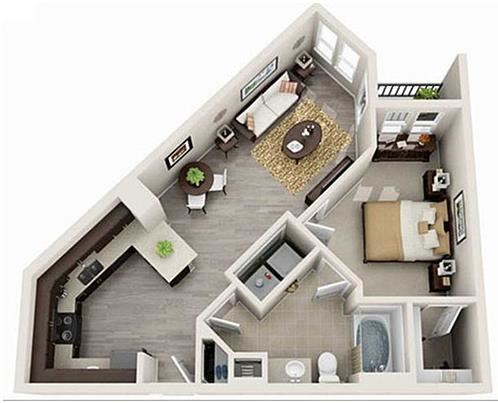 1 Bed 1 Bath 696 square feet 3d furnished floor plan Columbia