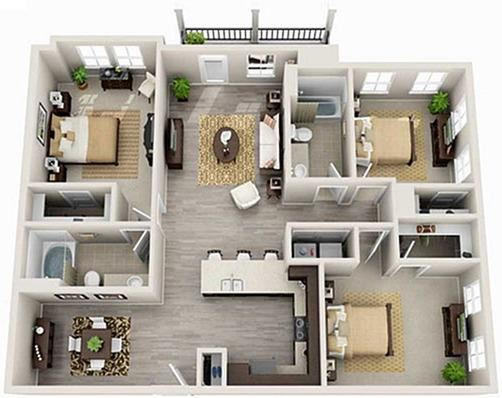 3 Bed 2 Bath 1378 square feet 3d furnished floor plan Madison