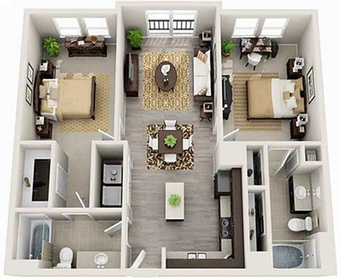 2 Bed 2 Bath 1023 square feet 3d furnished floor plan Morrell