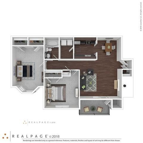 2 Bed 1 Bath 1,100 square feet floor plan THE WILLOW 3d furnished