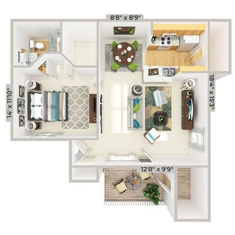 3d furnished 1 Bed 1 Bath 824 square feet floor plan The Bungalow