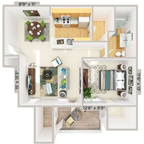 3d furnished 1 Bed 1 Bath 811 square feet floor plan The Cabana