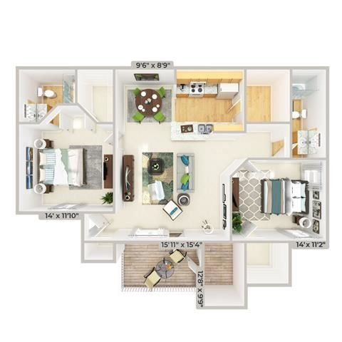 3d furnished 2 Bed 2 Bath 1109 square feet floor plan The Cottage
