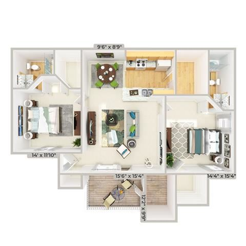 3d furnished 2 Bed 2 Bath 1109 square feet floor plan The Cottage Retreat