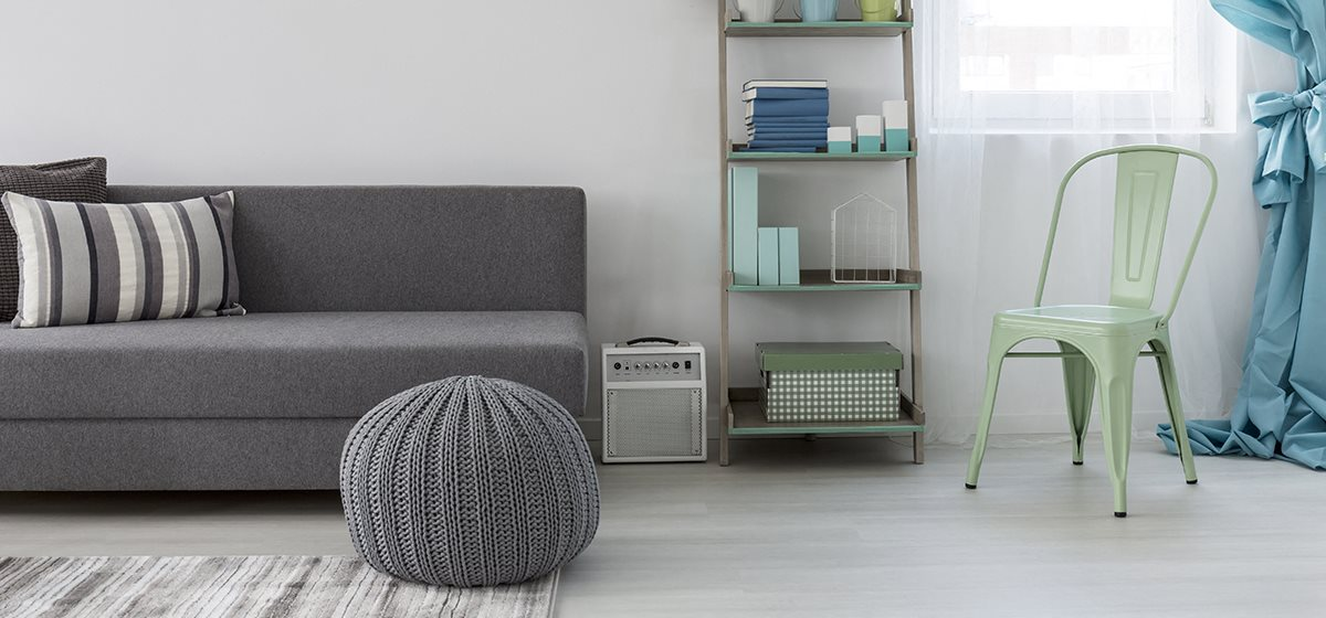 Living room with green and gray decor