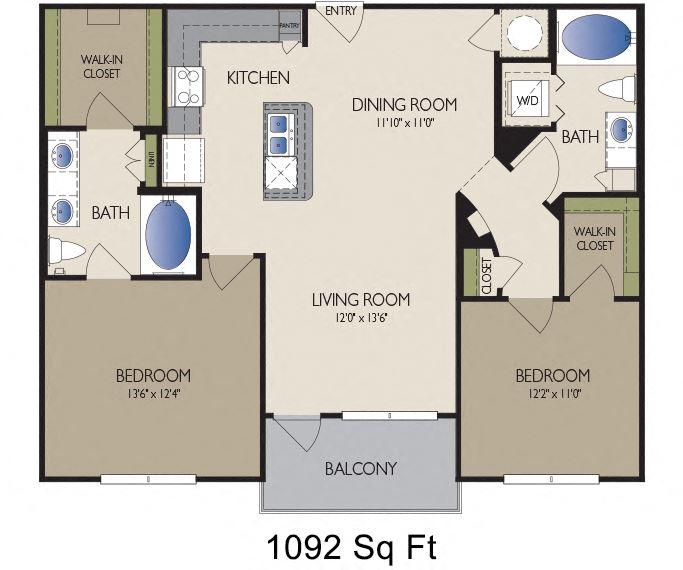 Metro Greenway - Houston, TX - Milano floor plan 1092 sq ft