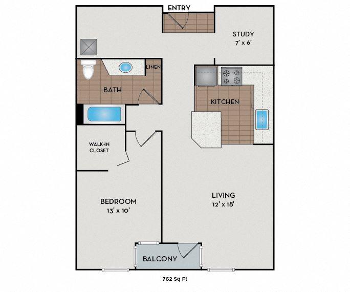 Neptune Apartments - Seattle, WA - The Anchor floor plan