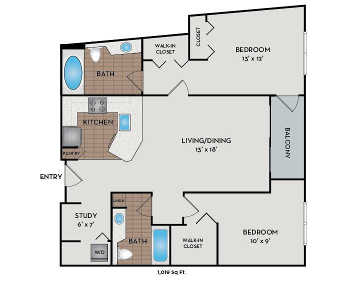 Neptune Apartments - Seattle, WA - The Current floor plan 1019 Sq Ft