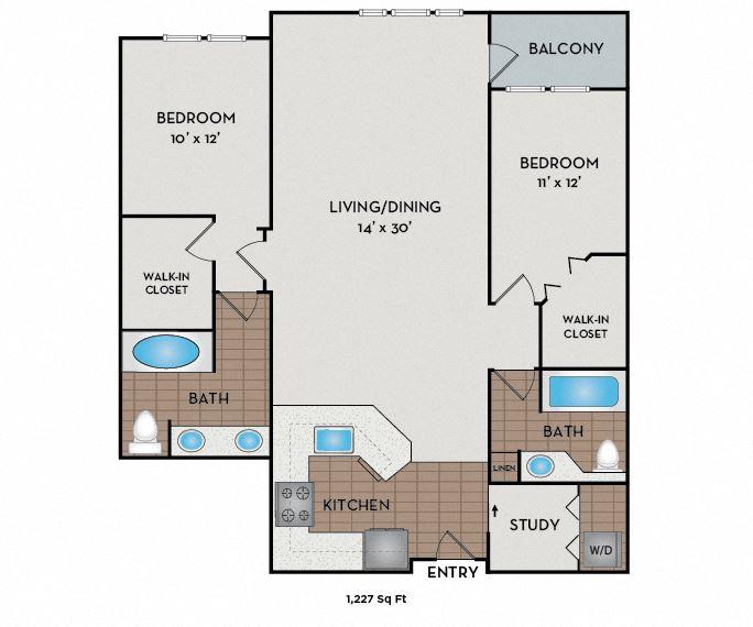 Neptune Apartments - Seattle, WA - The Foghorn floor plan