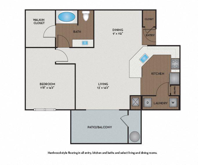 Strata Apartments - Austin, TX - Bastrop Floor Plan 840 Sq Ft