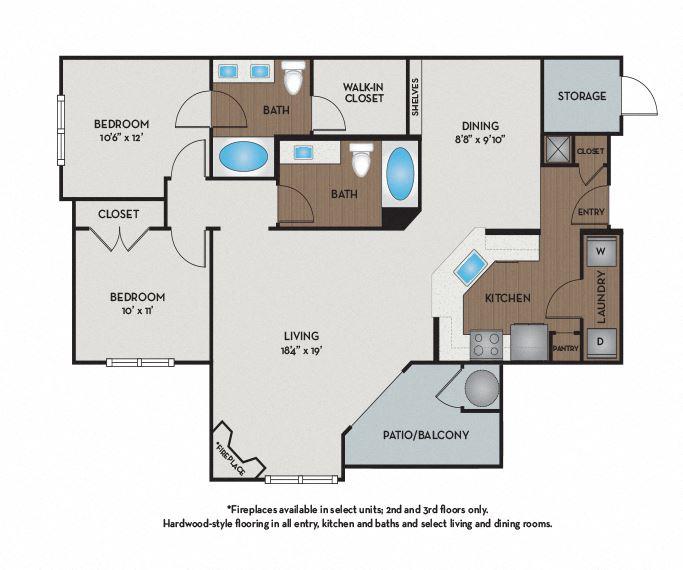 Settler's Ridge Apartments - Austin, TX - Guadalupe Floor Plan 1176 Sq Ft