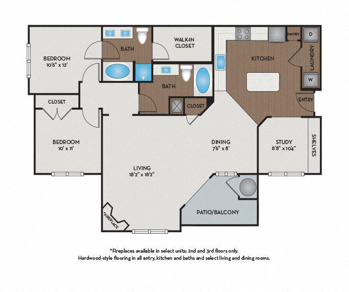 Settler's Ridge Apartments - Austin, TX - Travis Floor Plan 1296 Sq Ft