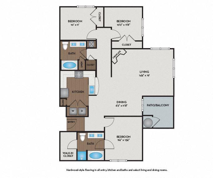 Settler's Ridge Apartments - Austin, TX - Williamson Floor Plan 1395 Sq Ft