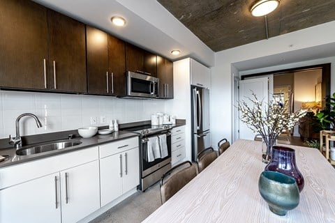 Mission Lofts Apartments Kitchen Area and Cabinetry
