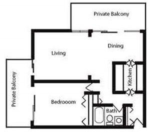 700sqft Floor Plan image at Nuvo Apartments in Denver, CO