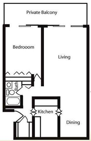 750 sqft Floor Plan image at Nuvo Apartments in Denver, CO