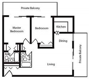 920 sqft Floor Plan image at Nuvo Apartments in Denver, CO