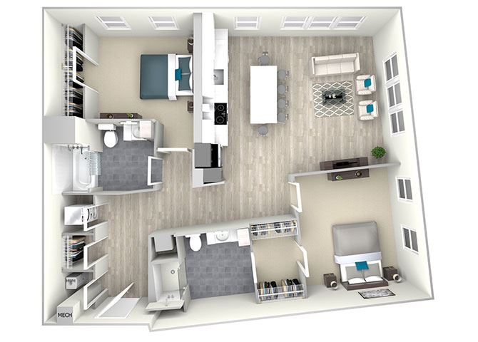 Two Bed Two Bath 1200 Floor Plan at Nightingale, Rhode Island, 02903