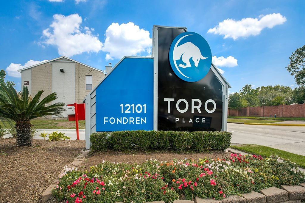 Welcoming Property Signage at Toro Place Apartments, CLEAR Property Management, Houston, TX, 77035