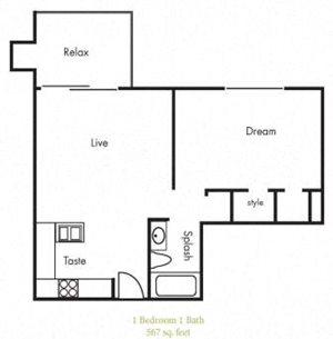 A2 Floorplan at Timbercreek Apartments