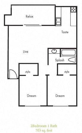 B1 Floorplan at Timbercreek Apartments