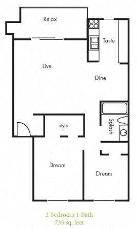 B2 Floorplan at Timbercreek Apartments