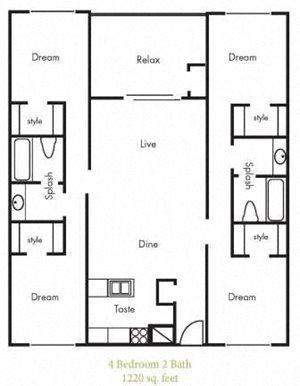D1 Floorplan at Timbercreek Apartments