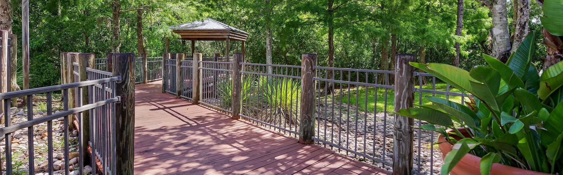 Deck Style Walkway with Railing Going through Trees