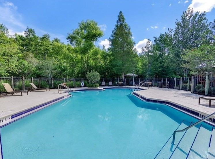 Swimming Pool with Sun Deck with Tree Line in the Background