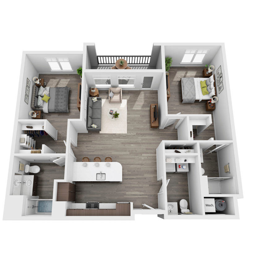 2 Bed 3D floorplan