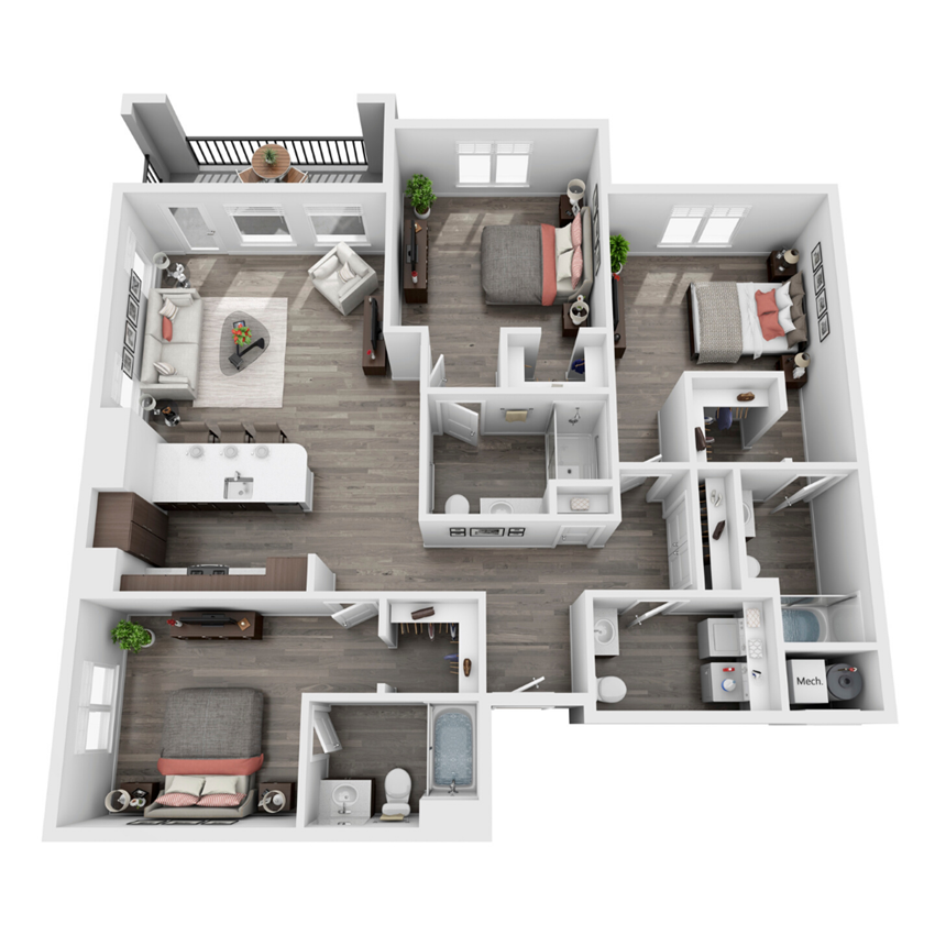 3 bedroom 3D floorplan