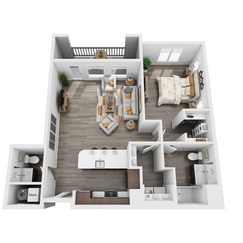 1 bedroom 3D floorplan