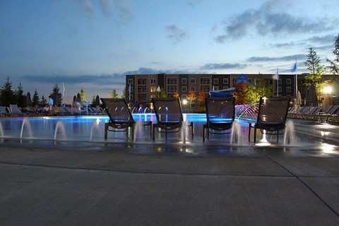 night time photo of the swimming pool