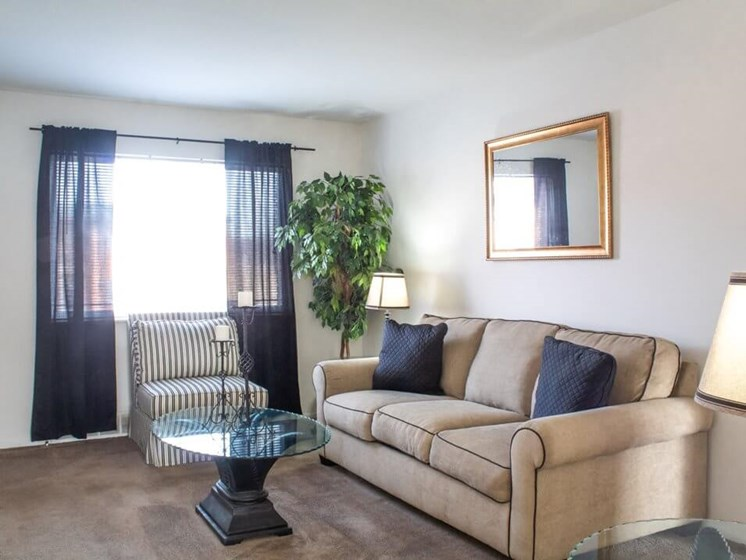 living room with big windows in Ferguson MO apartments