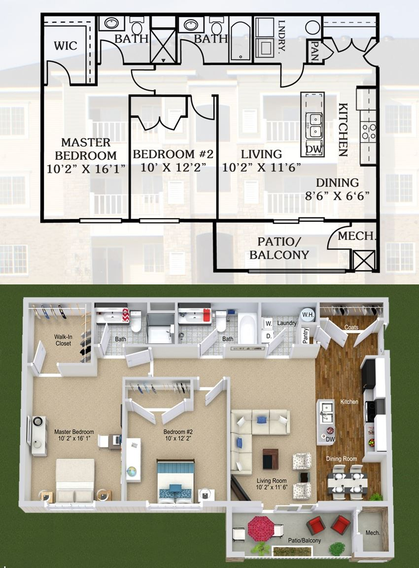 2 Bedrooms, 2 Bathrooms