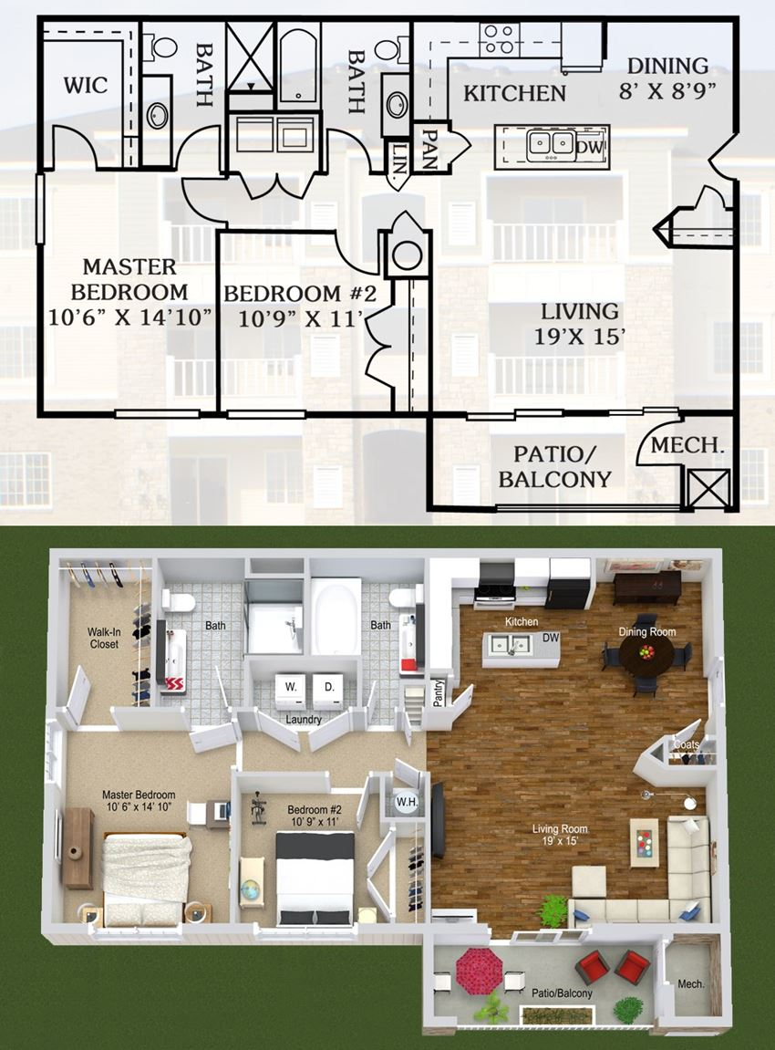 2 Bedroom, Extended BF