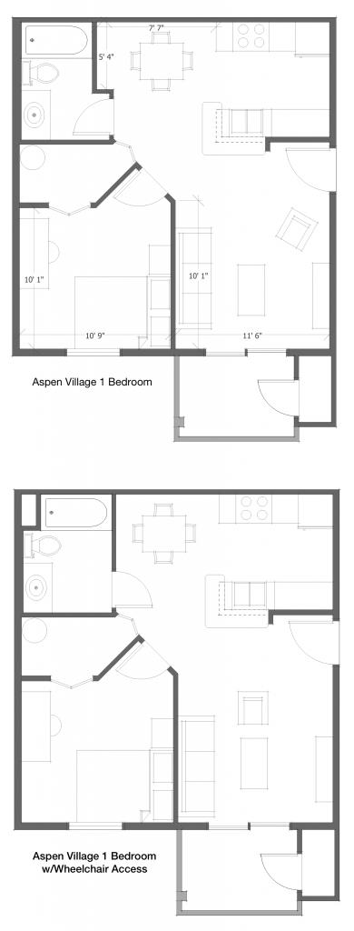 1 Bed 1 Bath HC Floor Plan 2