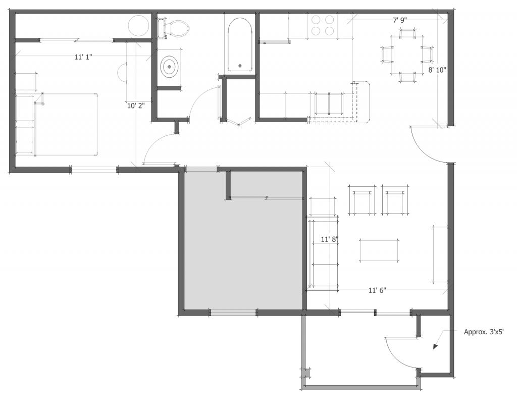 2 Bed 1 Bath Floor Plan 3