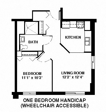 1 bedroom middle 6-9 and 12-15 accessible Floor Plan 8