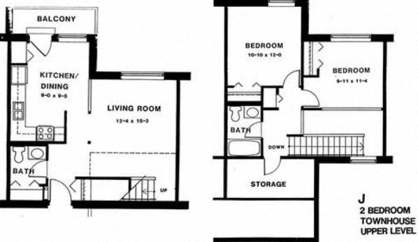 2 bedroom townhouse Floor Plan 13