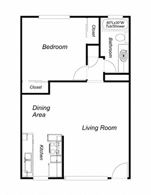 1 Bedroom, 1 Bathroom, 648