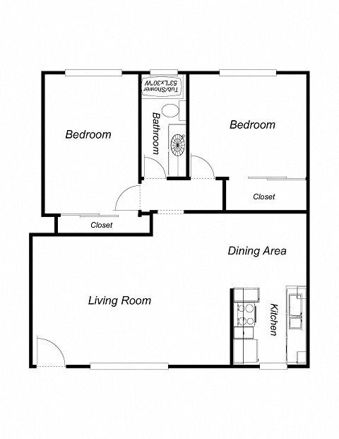 2 Bedrooms, 1 Bathroom, 883 Floor Plan 4