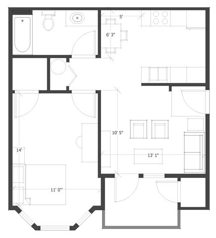 1 Bed 1 Bath Floor Plan 3