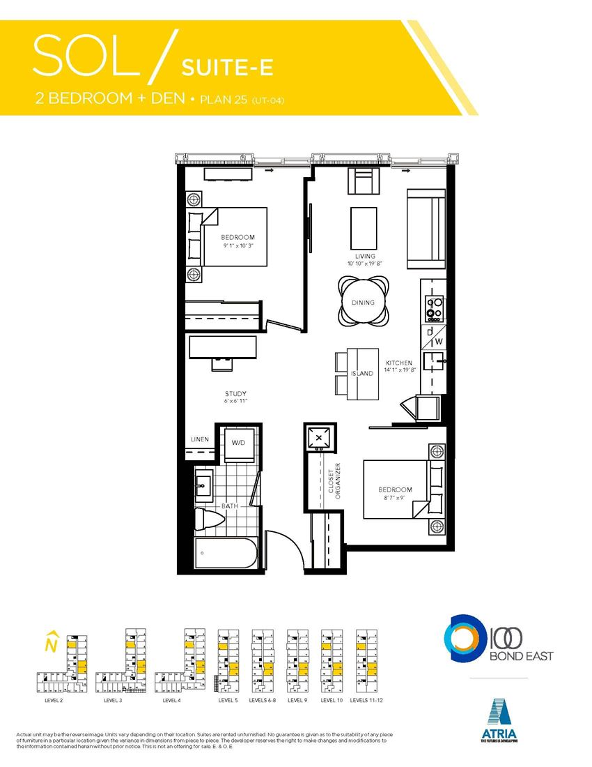 2 Bedrooms, 1 Bathroom + Den, SOL Model
